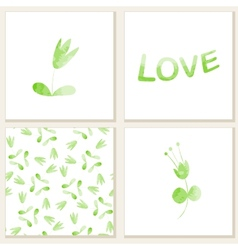 Cards with watercolor floral elements vector image