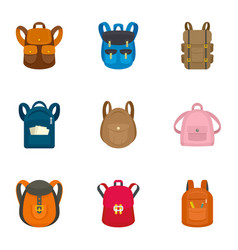 children backpack icon set flat style vector image