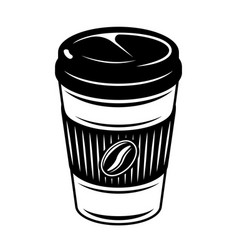 coffee paper cup in monochrome vector image