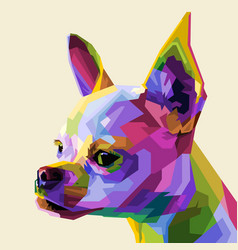 colorful head chihuahua on geometric pop art vector image