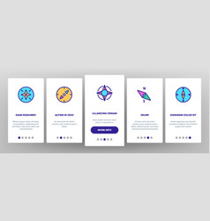 Compass navigation onboarding icons set vector
