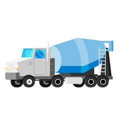 Concrete mixer truck isolated on white vector