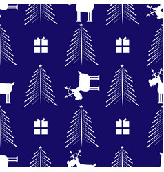 cristmas funny deer gift and cristmas tree new vector image