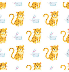 Cute leopards and rabbit seamless pattern vector
