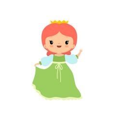 cute little fairytale princess girl wearing green vector image