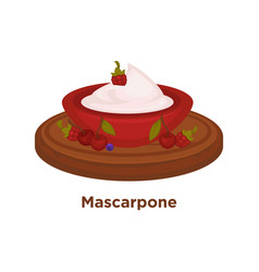 Delicious mascarpone with berries in bowl on vector