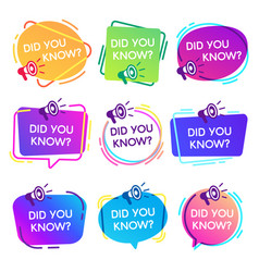 did you know labels interesting facts speech vector image