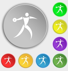 Discus thrower icon sign symbol on eight flat vector
