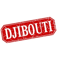 Djibouti red square grunge retro style sign vector