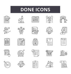 Done line icons signs set outline vector