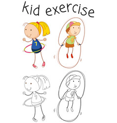 Doodle girl character exercise vector