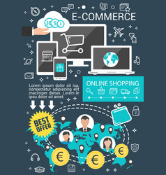 e-commerce business banner for online shopping vector image