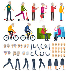 Elderly people orthogonal constructor icons vector