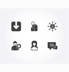 Engineer tea bag and networking icons load vector