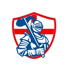 English Knight Hold Sword England Shield Flag vector