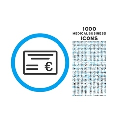 Euro Cheque Rounded Icon with 1000 Bonus Icons vector image