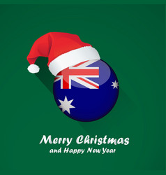 Flag of australia merry christmas and happy new vector
