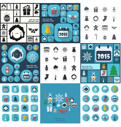 Flat concept set modern design with shadow happy vector