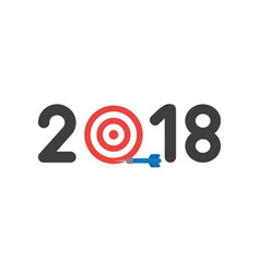 flat design concept of 2018 word with bulls eye vector image