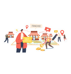 franchise business concept tiny male and female vector image