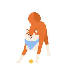 Frolic akita inu playing with ball playful vector