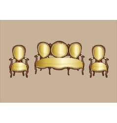 gold retro armchair and couch vector image