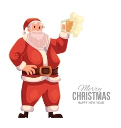 Greeting card with cartoon Santa Claus raising a vector image