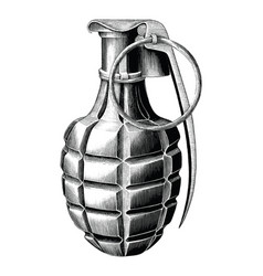 Grenade hand draw vintage style black and white vector