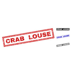 grunge crab louse textured rectangle watermarks vector image