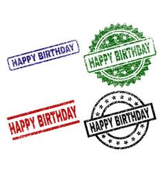 grunge textured happy birthday stamp seals vector image