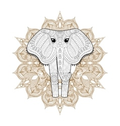 Hand drawn zentangle Ornamental Elephant on vector image