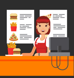 happy fast food saleswoman in uniform with cash vector image