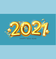 happy new 2021 year realistic 3d golden sign vector image