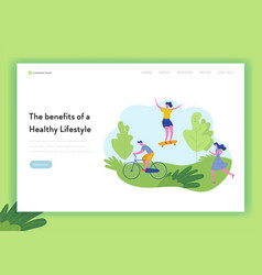 healthy lifestyle sport people landing page vector image