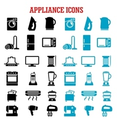 Home appliance and equipment flat icons vector