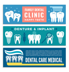 horizontal banners for dental clinic with vector image