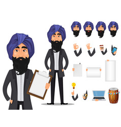 Indian business man cartoon character creation set vector