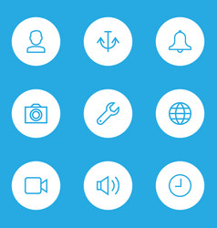 interface icons line style set with camcorder vector image