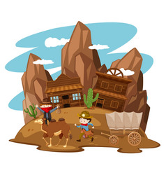 Kids playing cowboy in western town vector
