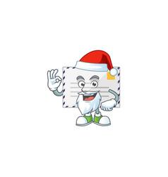 Letter santa cartoon design concept with ok finger vector