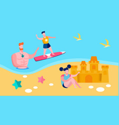 Loving father kids summer vacation vector