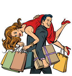 Man carries woman in his arms sale vector