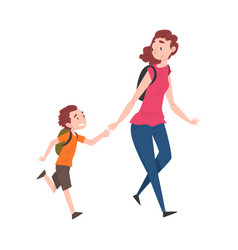 Mom and her son walking together holding hands vector