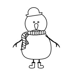 Monochrome contour of snowman with boots and scarf vector