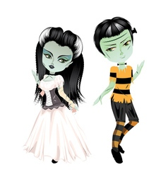 Monster Frankenstein with Bride vector