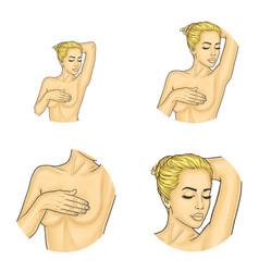 Naked girl covering breast pop art avatars vector