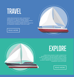 Nautical travel flyers with sailboats vector