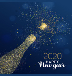 New year 2020 card glitter champagne bottle vector