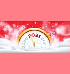 new year winter clock 2021 christmas holiday vector image