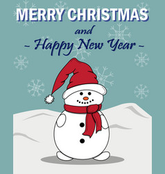 new years card with a snowman vector image
